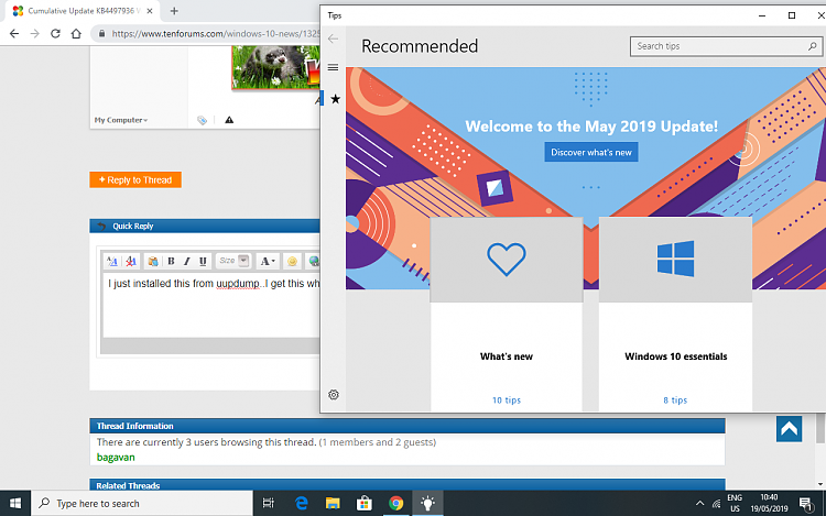 Cumulative Update KB4497936 Windows 10 Insider 1903 build 18362 113
