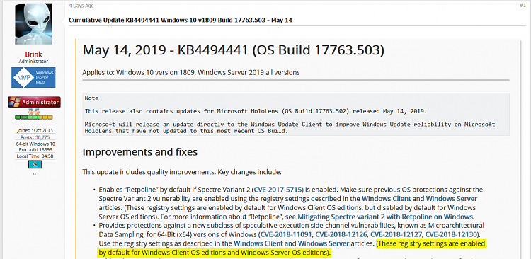 Cumulative Update KB4494441 Windows 10 v1809 Build 17763.503 - May 14-mds_registry_entries.png