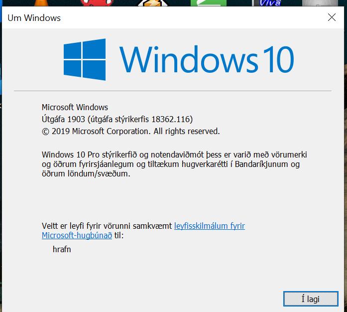 Cumulative Update KB4505057 Windows 10 v1903 build 18362.116 - May 19-winver.png