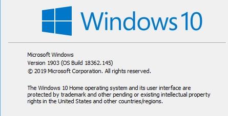 Cumulative Update KB4497935 Windows 10 v1903 build 18362 145 - May