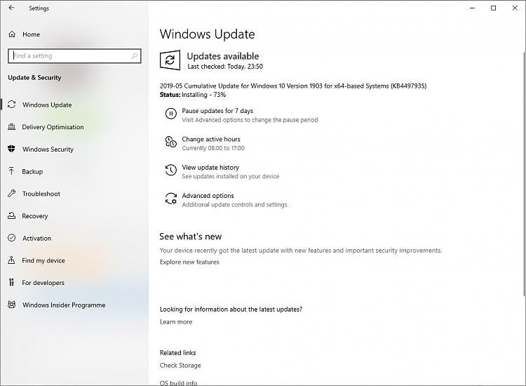 Cumulative Update KB4497935 Windows 10 v1903 build 18362 145