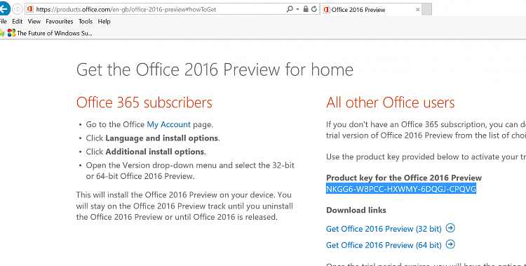 office product key 2016 list