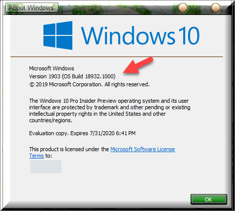 Click image for larger version.  Name:Winver After Installing OS Build 18932.png Views:59 Size:50.2 KB ID:239400