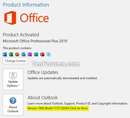 Office 365 Monthly Channel v1906 build 11727 20244 - July 9