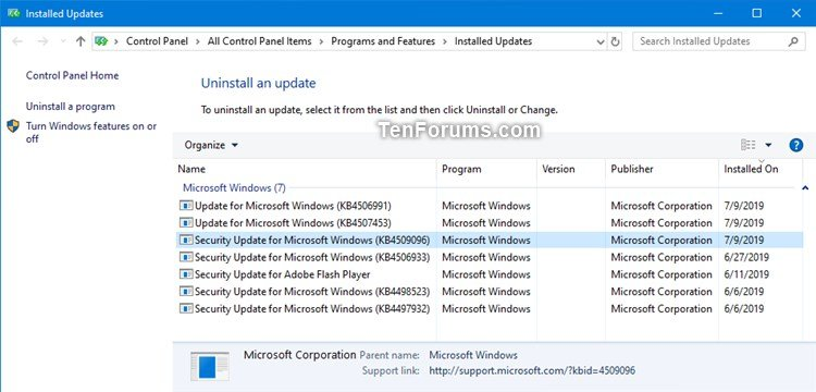New KB4509096 Servicing Stack Update for Windows 10 v1903 - July 9-installed_updates.jpg