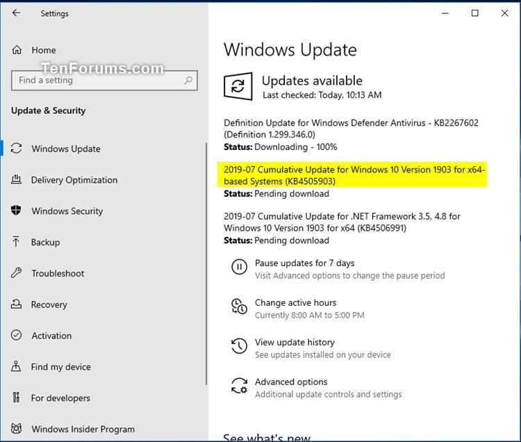 Madison : Windows 10 update download size