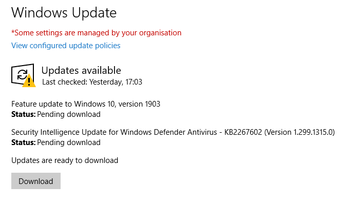 Microsoft now auto updating Windows 10 version 1803 and older to 1903-1803-update-1903-pending.png