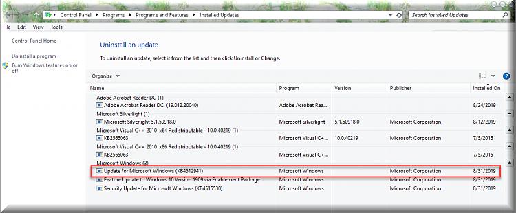 Cumulative Update KB4512941 Windows 10 v1903 build 18362 329