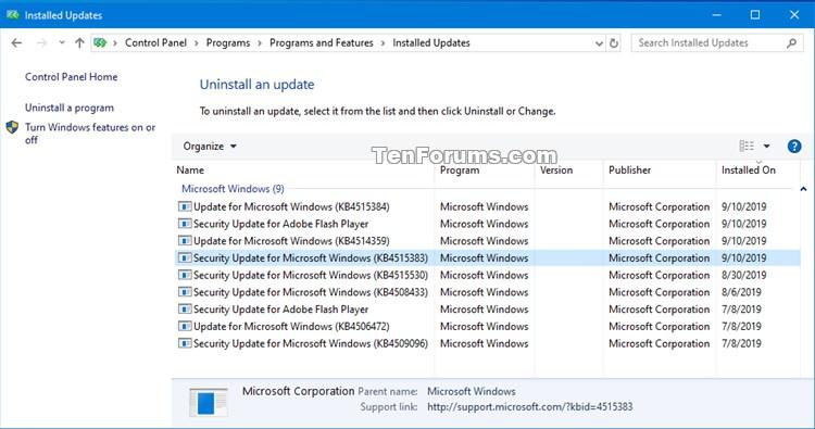 Stack update windows 10