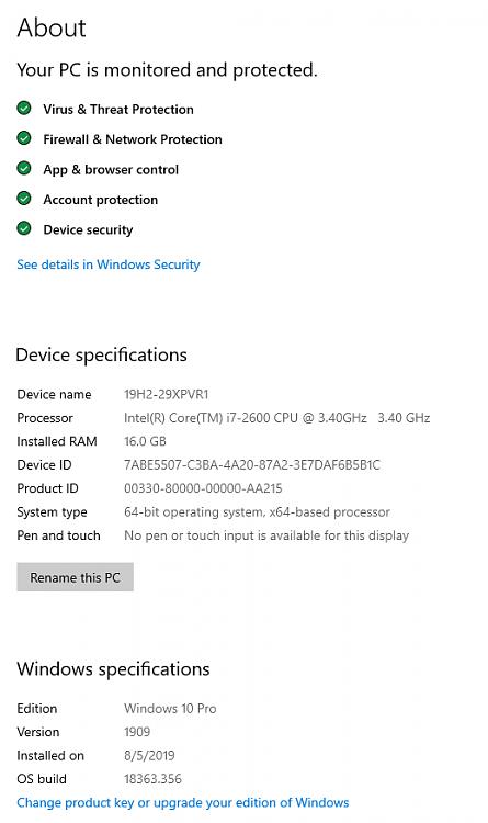 Cumulative Update KB4517245 Windows 10 v1909 Build 18363.329 - Sept. 5-18363.356.png