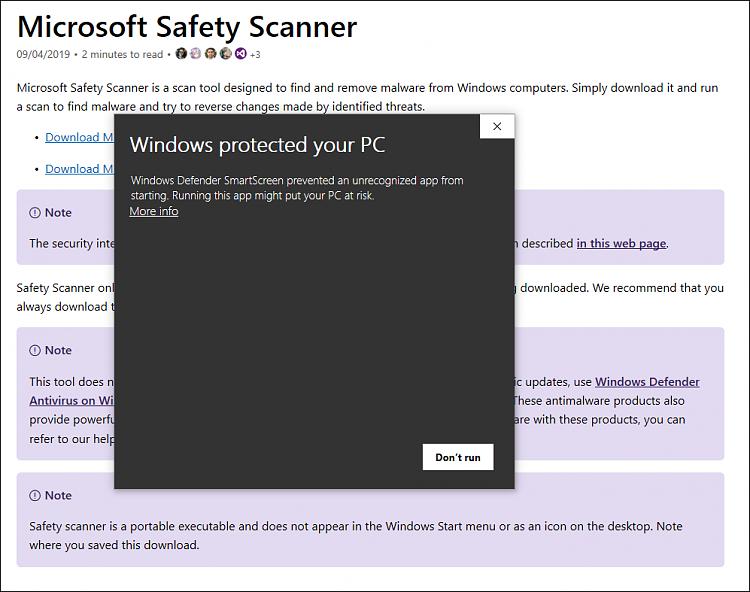 Cumulative Update KB4515384 Windows 10 v1903 build 18362.356 Sept. 10-safety-scan-issus.png