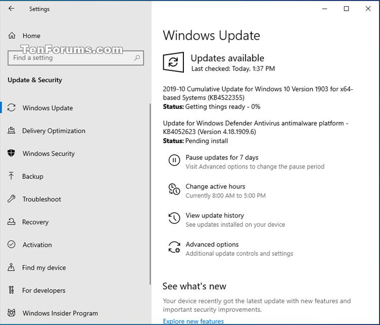 Cumulative Update KB4522355 Windows 10 v1903 build 18362.449 - Oct. 24-kb4522355.png