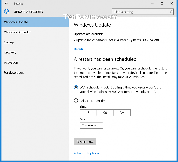 New Security Update KB3074678 for Windows 10 July 26th 2015