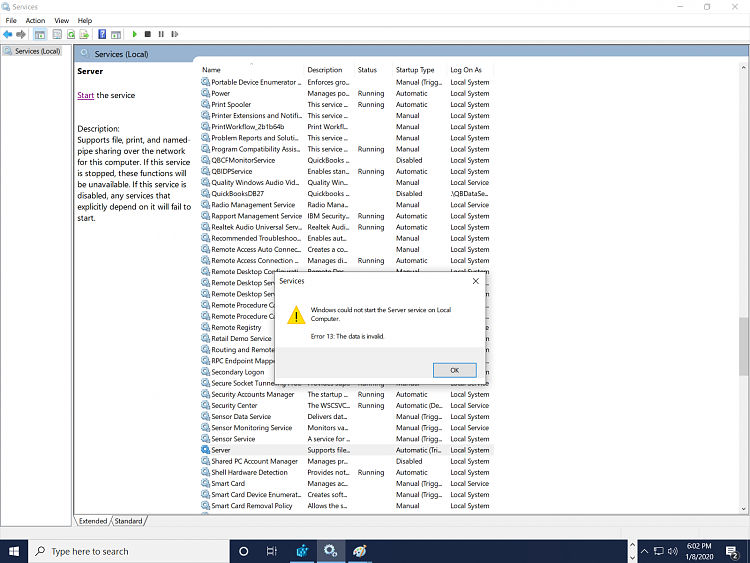 Known and Resolved issues for Windows 10 May 2019 Update version 1903-lanmanserver.png