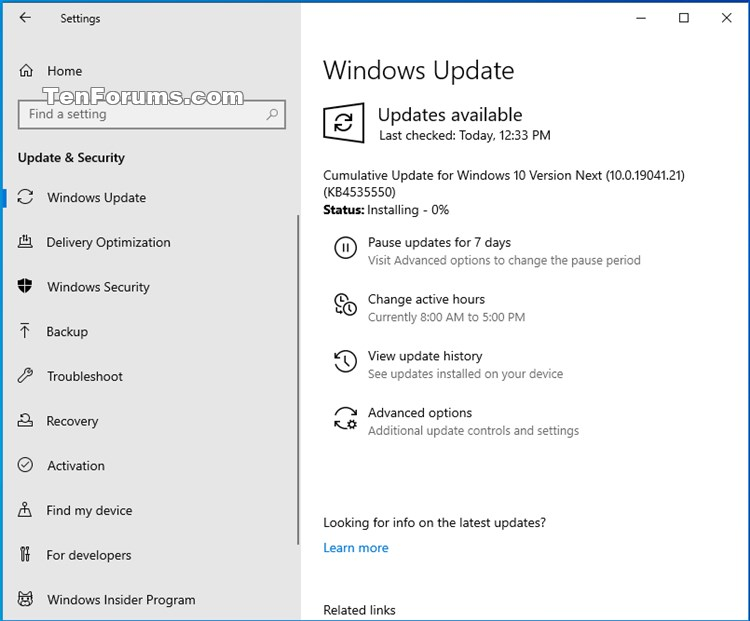 KB4535550 for Windows 10 Insider Preview Slow Build 19041.21 - Jan. 14-190421.21.jpg
