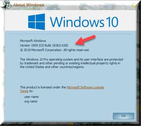 KB4532695 CU Win 10 v1903 build 18362.628 & v1909 build 18363.628-winver-after-installing-kb4532695.png