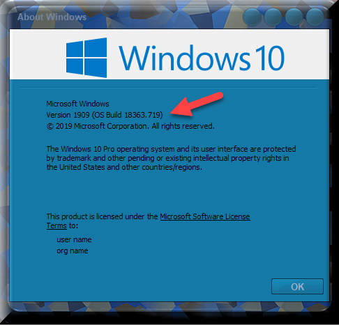 KB4540673 CU Win 10 v1903 build 18362.719 and v1909 build 18363.719-winver-after-installing-kb4540673.png