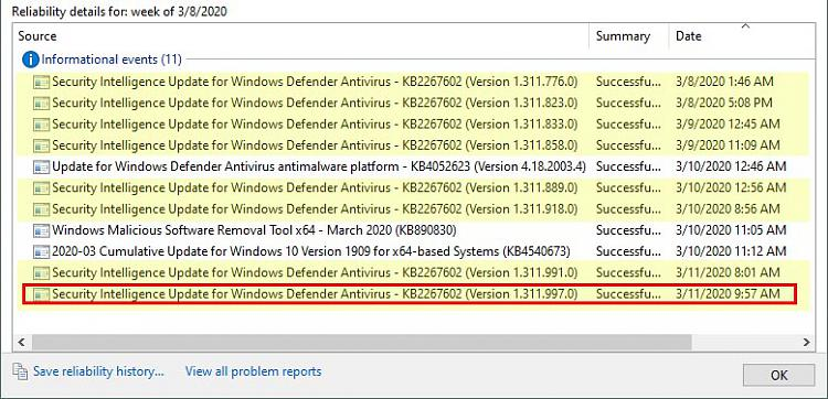 KB4540673 CU Win 10 v1903 build 18362.719 and v1909 build 18363.719-defenderreliabilityhistory.jpg
