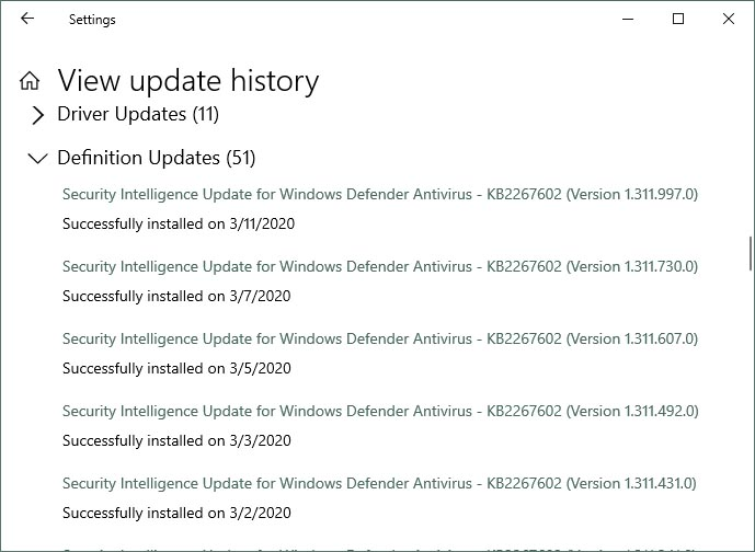 KB4540673 CU Win 10 v1903 build 18362.719 and v1909 build 18363.719-defenderupdatehistory2.jpg