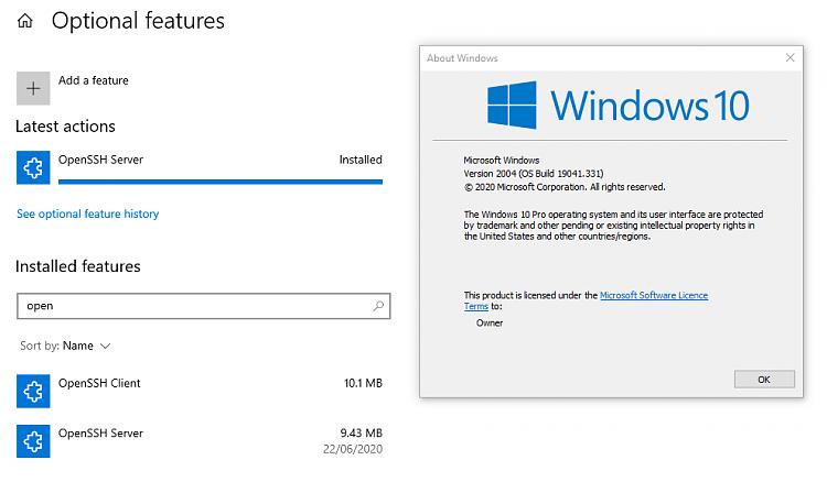 KB4567523 Cumulative Update Windows 10 v2004 build 19041.331 - June 18-2004-openshh-server-installed.png