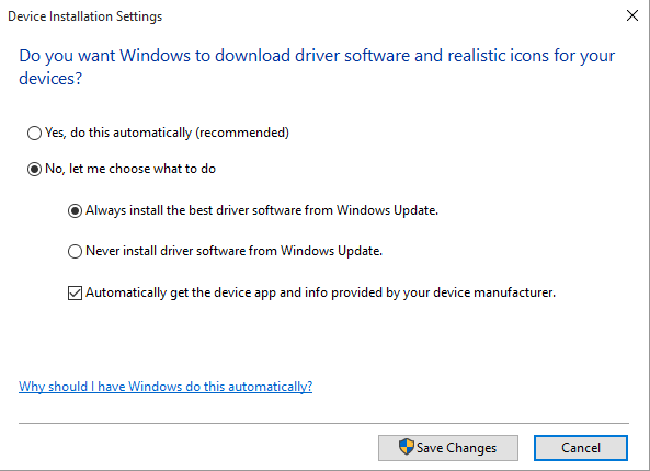 Click image for larger version.  Name:Device installation settings.PNG Views:328 Size:14.5 KB ID:29628