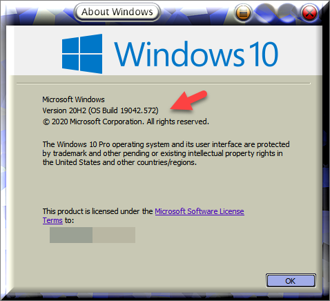 Windows 10 Insider Preview Beta and RP Channel Build 19042.572 (20H2)-winver-after-installing-kb4579311.png