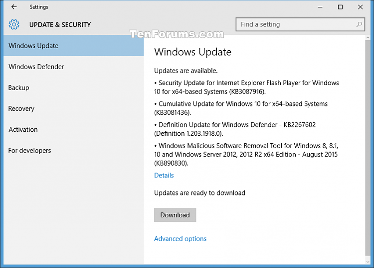 Click image for larger version.  Name:Windows_10_August_11_2015_updates.png Views:44 Size:36.6 KB ID:30559