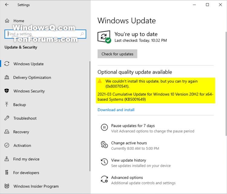 KB5001649 CU Windows 10 v2004 build 19041.870 and v20H2 19042.870-kb5001649_error.jpg