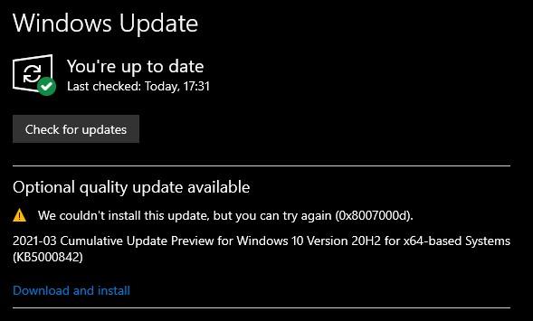KB5000842 CU Windows 10 v2004 build 19041.906 and v20H2 19042.906-u1.jpg