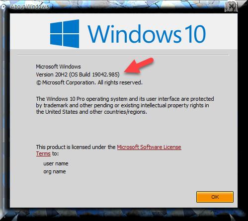 KB5003173 CU Windows 10 2004 19041.985, 20H2 19042.985, 21H1 19043.985-winver-after-installing-kb5003173.png