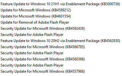 KB5000736 Featured update Windows 10 version 21H1 enablement package-udates.png