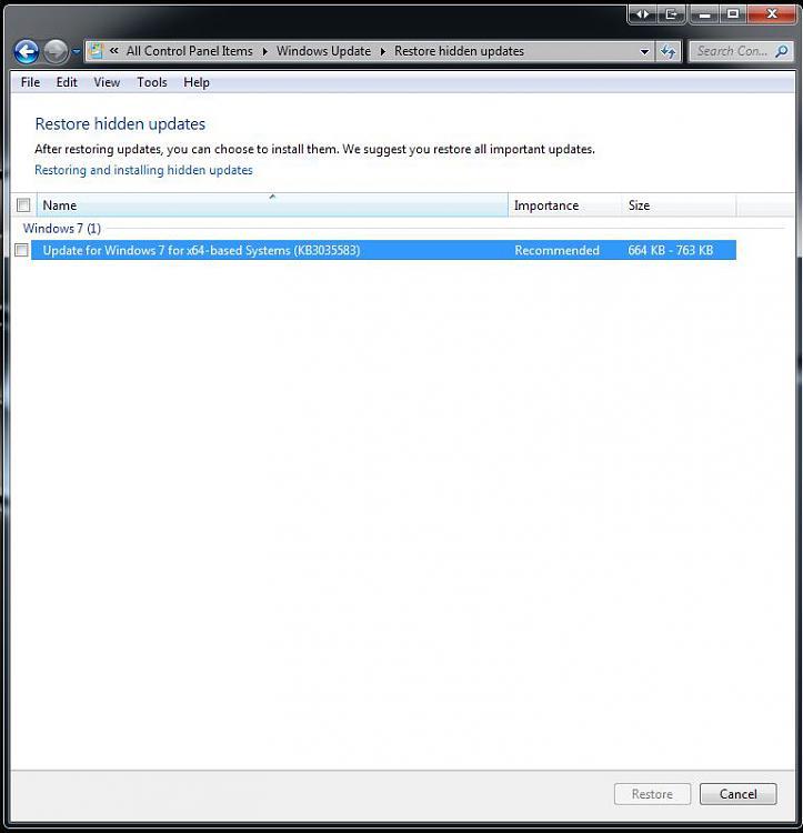 Click image for larger version.  Name:PREVENT 10  UPGRADE 13 RESTORE HIDDEN UPDATES OPTION.jpg Views:7 Size:62.0 KB ID:37970