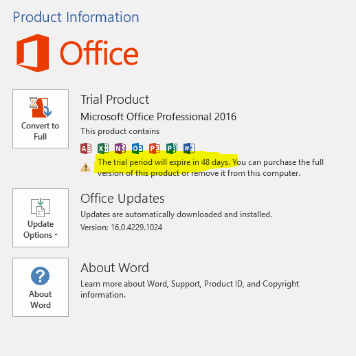 Convert to Full Office 2016