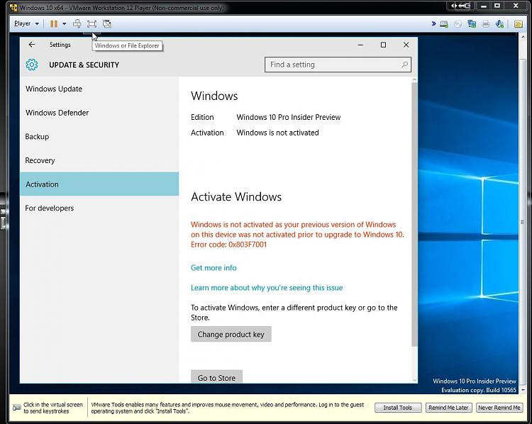 Click image for larger version.  Name:W10 Insider Build VM Cannot Activate.jpg Views:4 Size:112.0 KB ID:44865