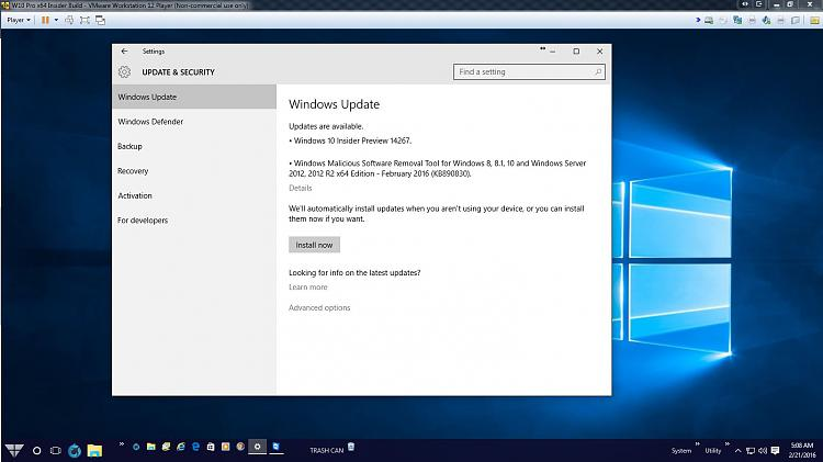 W10 VM Upgrade to W10 Insider Preview Build 14267 Screen 1.jpg