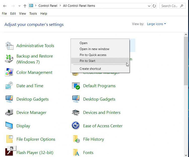 Click image for larger version.  Name:Control Panel Pinning or Shortcut Options.jpg Views:1 Size:74.0 KB ID:66791