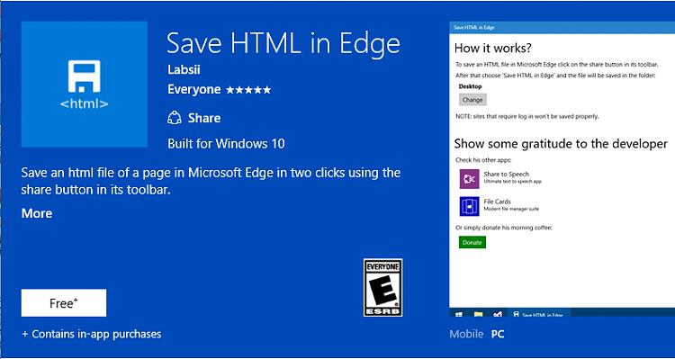 Click image for larger version.  Name:Save HTML in Edge.jpg Views:5 Size:125.2 KB ID:70904