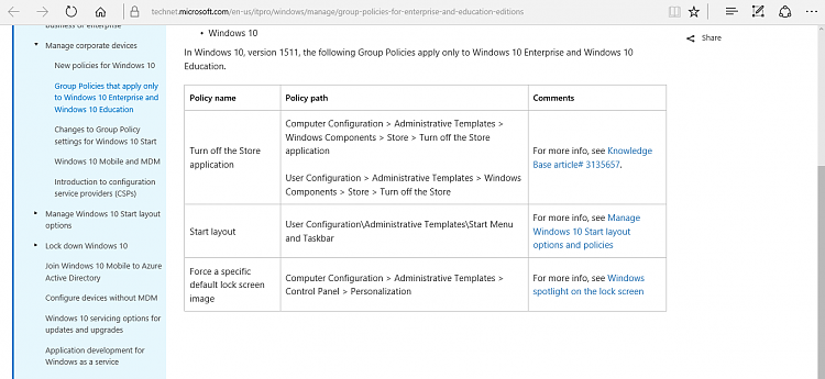 Group Policies that apply only to Windows 10 Enterprise and