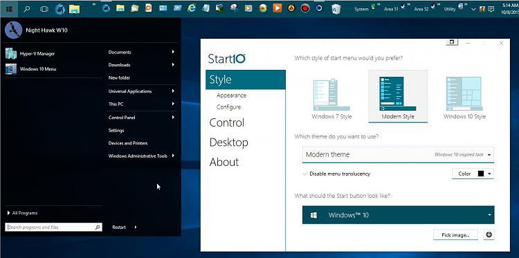 Click image for larger version.  Name:Stardock START10 Configuration Options.jpg Views:5 Size:100.9 KB ID:89249