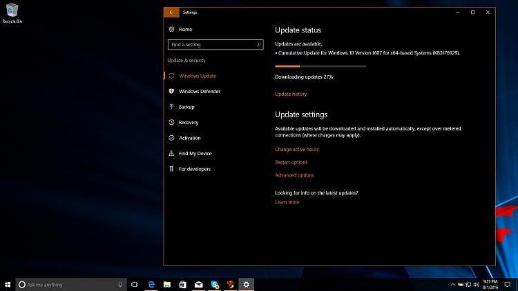 Cumlative update on 1607 Release Preview.jpg