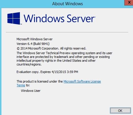 Windows 10 build 9841 (Server 2015 Technical Preview) - Windows 10