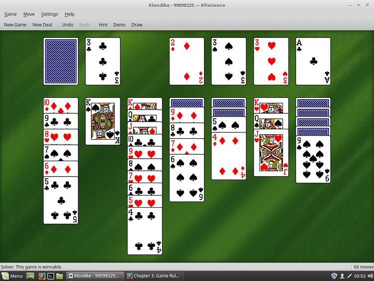 Click image for larger version.  Name:Linux Mint 18.x Cinnamon Klondike Solitaire.jpg Views:4 Size:445.5 KB ID:185237