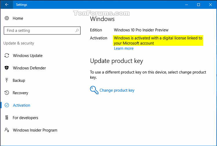windows 10 change product key link not working