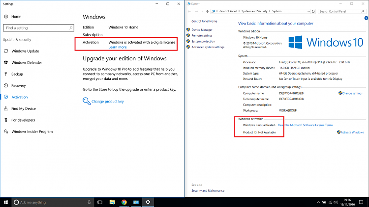 D T Windows Not Activated Following Reset Pc Iswindowsactivated on Show Product Key Windows 10