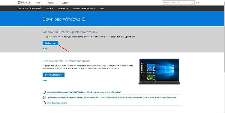 download windows 10 update 1709 manually