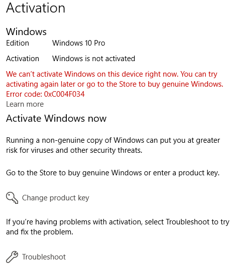 windows 10 pro showing not activated