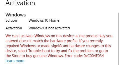 unable to activate windows 10 after motherboard change