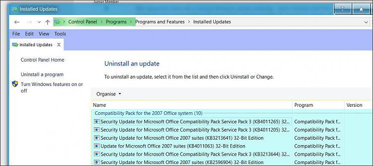Today's Windows update -