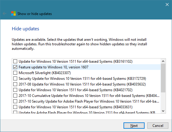 How to stop 1709 from installing through updates Solved