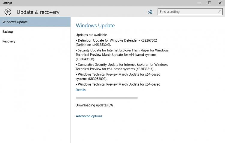 Windows Update won't download updates (Build 10049) - Windows 10 Forums